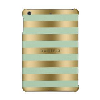 Gold & Mint-Green Stripes Geometric Pattern iPad Mini Cover