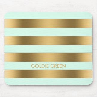 Gold Mint Green Stripes Geometric Pattern Monogram Mouse Pad
