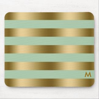 Gold & Mint-Green Stripes Geometric Pattern Mouse Pad