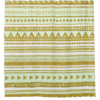 Gold Mint Green Tribal Pattern Shower Curtain