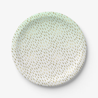 Gold Mint Ombre Abstract 7 Inch Paper Plate