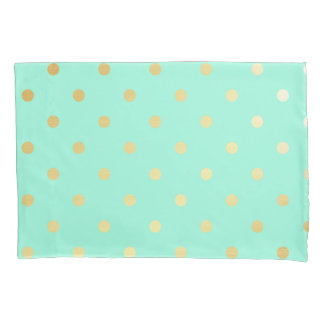 gold mint polka dots pillowcase