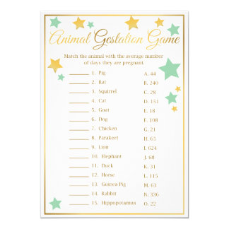 Gold Mint Star Baby Shower Game Animal Gestation Card
