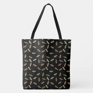 Gold Mint Watercolor Dragonflies Tote Bag