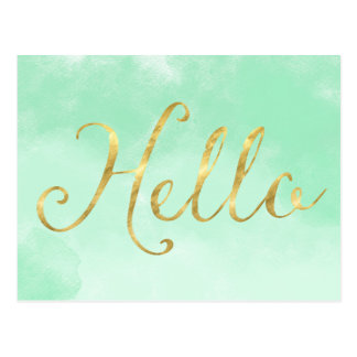 Gold Mint Watercolor Glam Hello Postcard