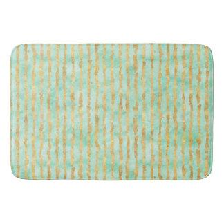 Gold Mint Watercolor Glitz Stripes Bath Mat
