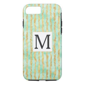 Gold Mint Watercolor Glitz Stripes iPhone 8/7 Case