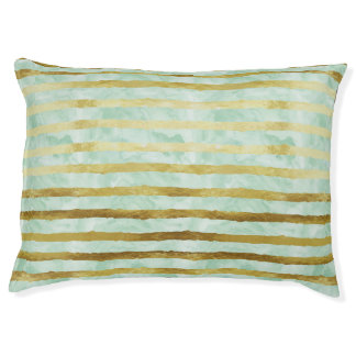 Gold Mint Watercolor Stripes Large Dog Bed