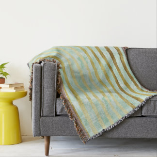 Gold Mint Watercolor Stripes Throw Blanket