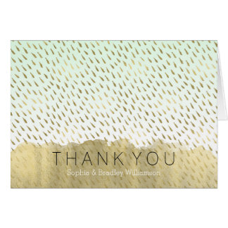 Gold Mint White Ombre Abstract Thank You Card