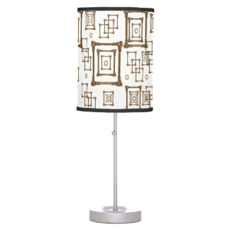 gold mirror white lamp shade