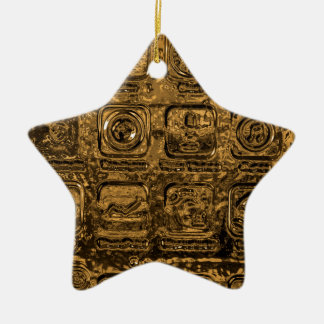 Gold mobile phone icons ceramic ornament