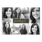 Gold Modern 6 Photo Script Graduation Invite