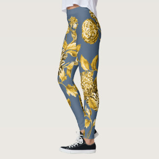 Gold Modern Botanical Floral Toile Slate Blue Leggings