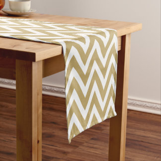 Gold Modern Chevron Stripes Short Table Runner