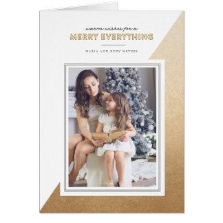 Gold Modern Color Blocked Christmas Folded Card