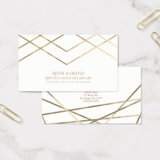 Gold Modern Geometric Lines Refer a Friend Business Card