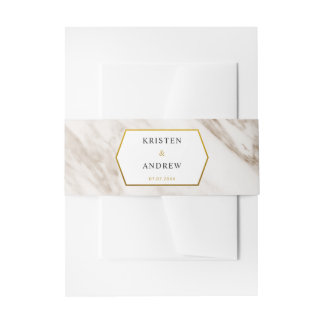 Gold Modern | Marble Wedding Bellyband Invitation Belly Band