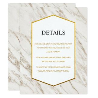 Gold Modern | Marble Wedding Details Card