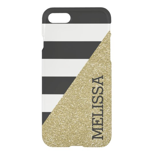 Gold Monochrome Stripes Clear Modern iPhone 7 iPhone 8/7 Case