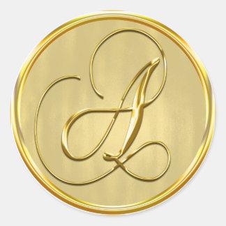 Gold Monogram A Seal Round Sticker
