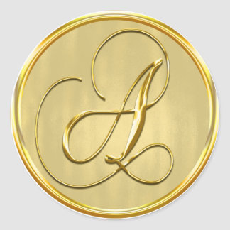 Gold Monogram A Seal Wedding Invitation Holiday Round Sticker