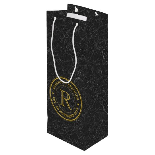 Gold Monogram Black Leather Wedding Anniversary Wine Gift Bag