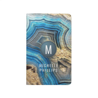 Gold monogram blue geode aqua agate journal