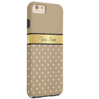 Gold Monogram. Chic Starfish Brown White Polka Dot Tough iPhone 6 Plus Case