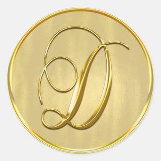 Gold Monogram D Seal Round Sticker