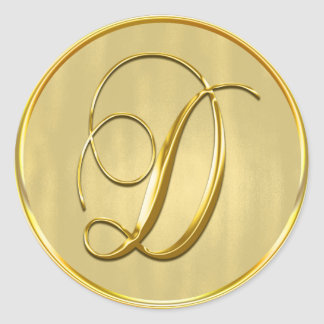 Gold Monogram D Seal Wedding Invitation Holiday Round Sticker