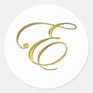 Gold Monogram E Classic Round Sticker