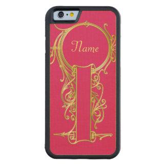 Gold Monogram Frame Carved Maple iPhone 6 Bumper Case