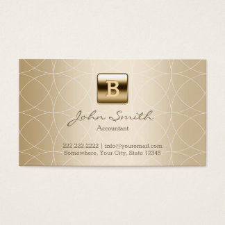 Gold Monogram Geo Patterns Accountant Business Card