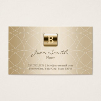Gold Monogram Geo Patterns Nanny Business Card