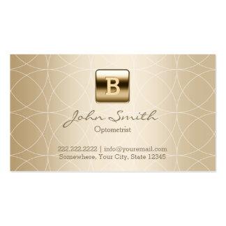 Gold Monogram Geo Patterns Optometrist Business Card