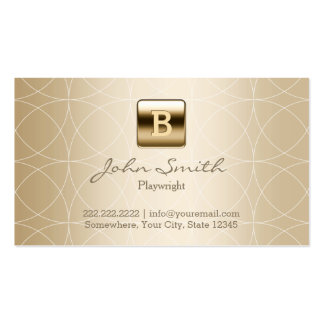 Gold Monogram Geo Patterns Playwright Business Card