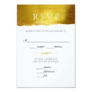 Gold Monogram Glam and Elegant Wedding RSVP card
