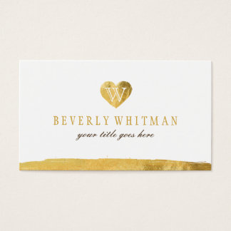 Gold Monogram Heart Business Cards