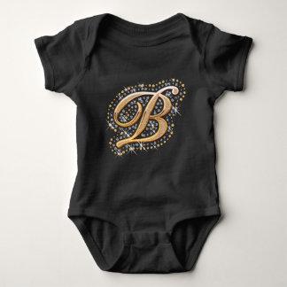 Gold Monogram Initial Letter B Baby Bodysuit