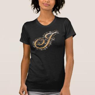 Gold Monogram Initial Letter J T-Shirt