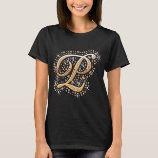 Gold Monogram Initial Letter P T-Shirt