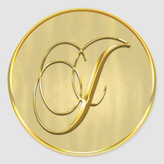 Gold Monogram J Seal Wedding Invitation Holiday Round Sticker