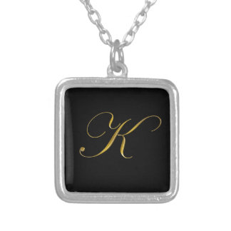 Gold Monogram K Initial Necklace