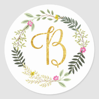 Gold Monogram Leaf B Round Sticker