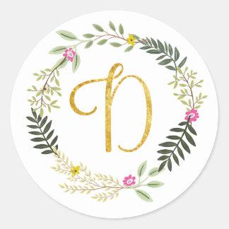 Gold Monogram Leaf D Classic Round Sticker