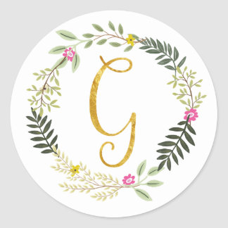 Gold Monogram Leaf G Classic Round Sticker