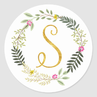 Gold Monogram Leaf S Classic Round Sticker