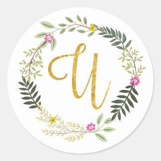 Gold Monogram Leaf U Round Sticker