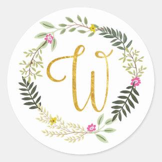 Gold Monogram Leaf W Classic Round Sticker